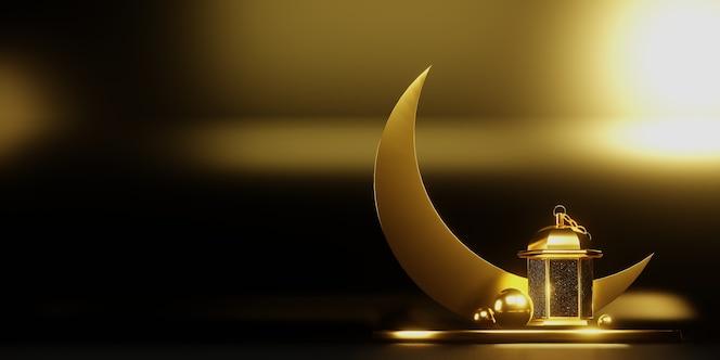 Escena 3d de la luna de ramadán con color dorado