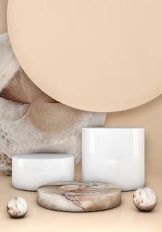 Escena 3d mínima con formas geométricas. podio de mármol sobre fondo beige pastel