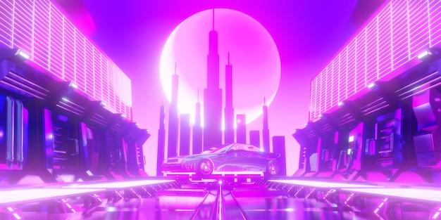 Escena abstracta de ciencia ficción coche retro y torre de la ciudad