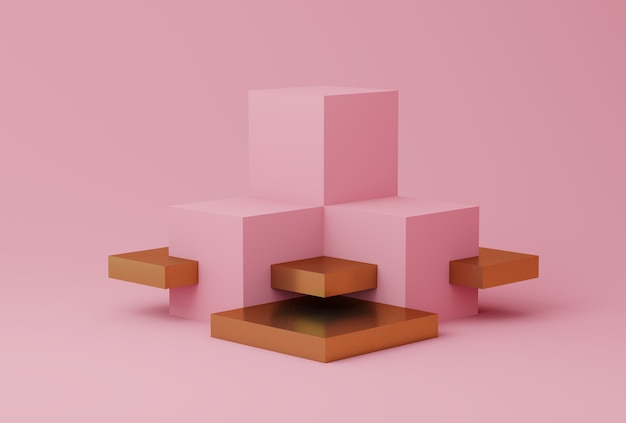 Escena abstracta en color rosa y dorado con formas geométricas.