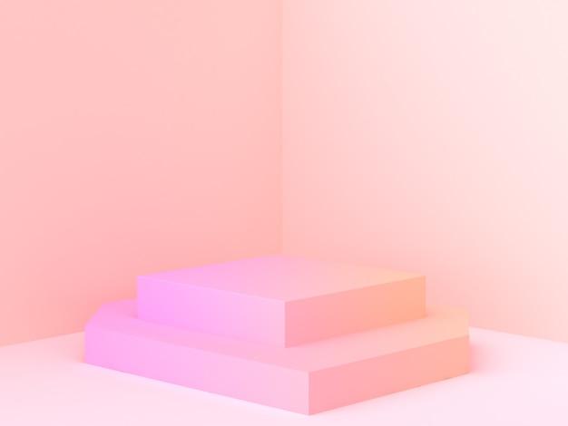 Escena abstracta de la esquina de la pared representación 3d podio mínimo gradiente