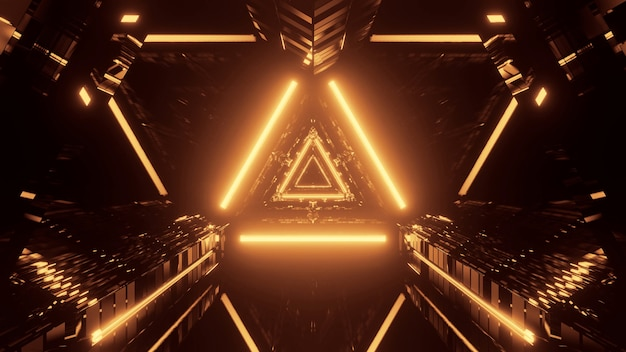 Escena abstracta futurista fresca con luz de neón