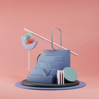Escena abstracta geometría forma podio