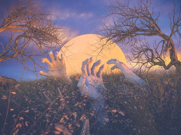 Escena abstracta de halloween con manos de zombies y árbol muerto.