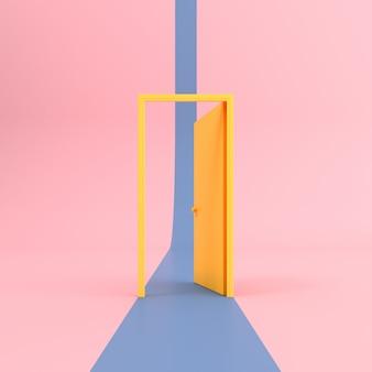 Escena abstracta de puerta abierta amarilla con camino azul sobre fondo rosa