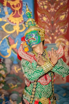 Escena de baile de pantomima tailandesa ravana