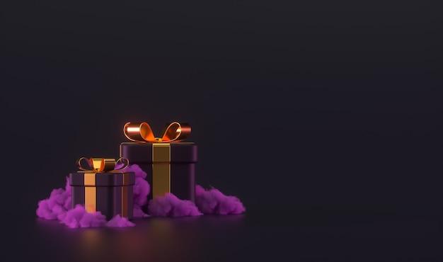 Escena de caja de regalo 3d con nubes