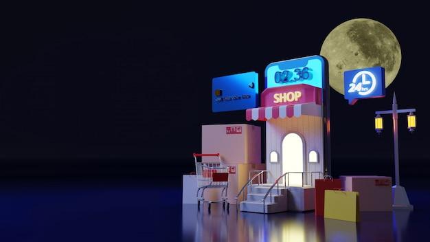 Escena de compras en miniatura por la noche