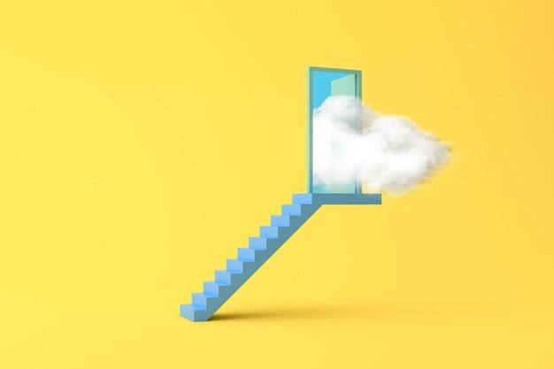 Escena conceptual de nube blanca flotante en una puerta en escalera azul. representación 3d