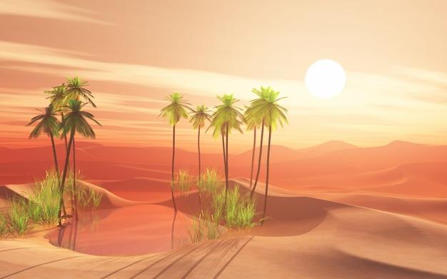 Escena del desierto 3d con oasis de palmeras.