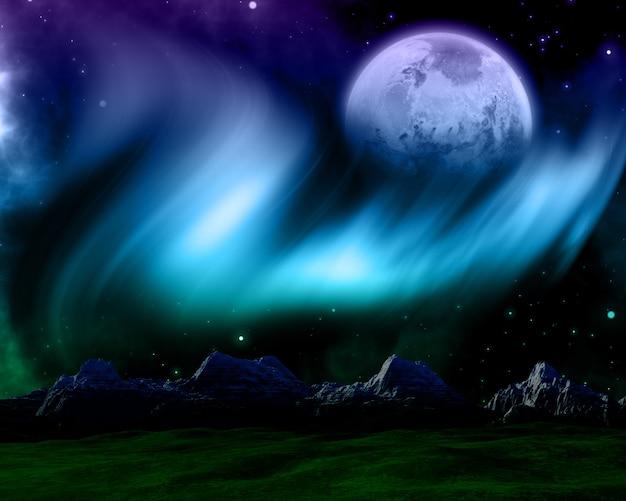 Escena espacial abstracta con auroras boreales y planeta ficticio.