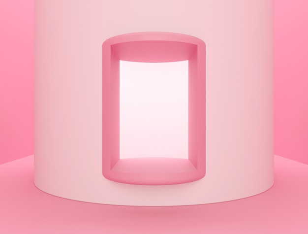Escena para exhibición de productos, fondo abstracto rosa