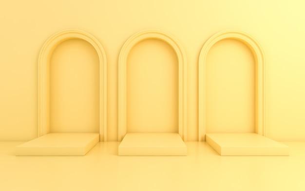 Escena con fondo mínimo, arco con un podio, render 3d