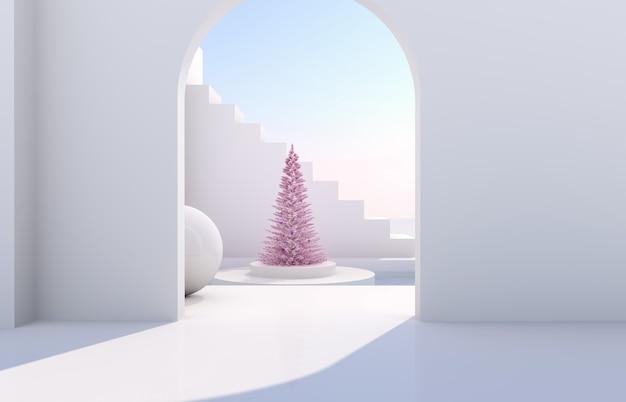Escena con formas geométricas, arco con podio a la luz del día natural. paisaje minimalista con árbol de navidad