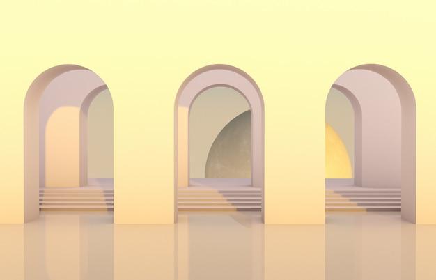 Escena con formas geométricas, arco con podio en luz natural y luna. fondo mínimo fondo surrealista. render 3d