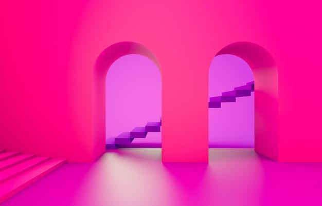 Escena con formas geométricas, arco con un podio en vivos colores neón rosa, fondo minimalista, fondo rosa. render 3d