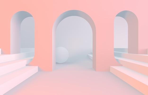 Escena con formas geométricas en arco con un podio.