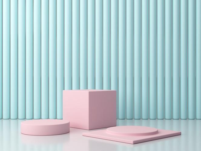Escena con formas geométricas en colores pastel. podio mínimo. plataformas rosadas en blackground azul.