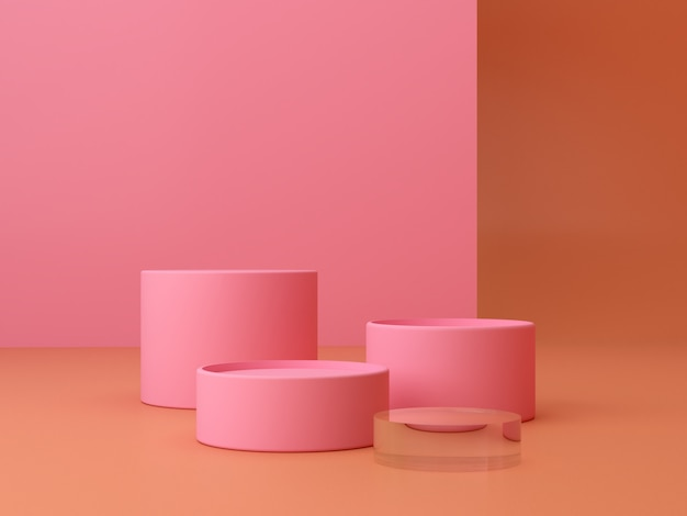 Escena con formas geométricas con podio vacío. formas geométricas