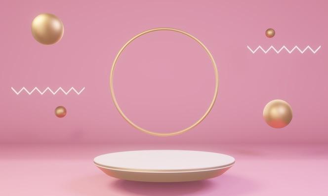 Escena con formas rosadas y doradas con podio para producto.