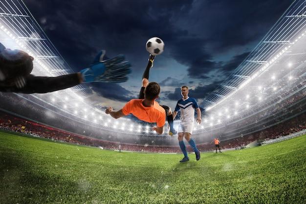 Escena de fútbol con jugadores de fútbol que compiten en el estadio. representación 3d