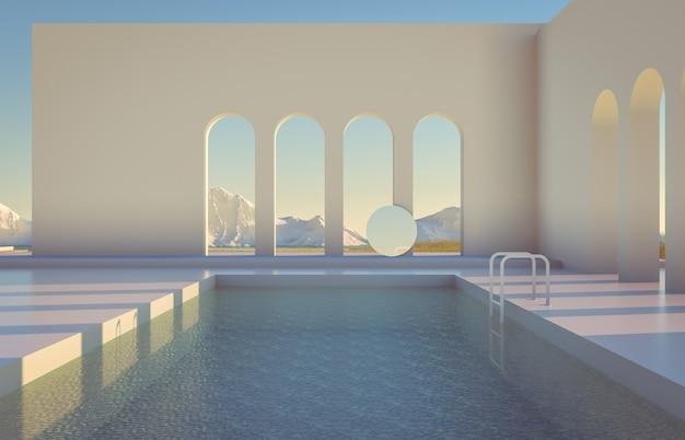Escena de invierno con formas geométricas, arco con vista al lago y piscina