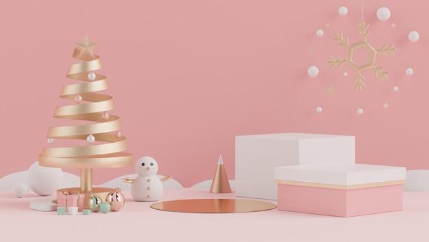 Escena mínima 3d de navidad con podio para maqueta y presentación del producto.