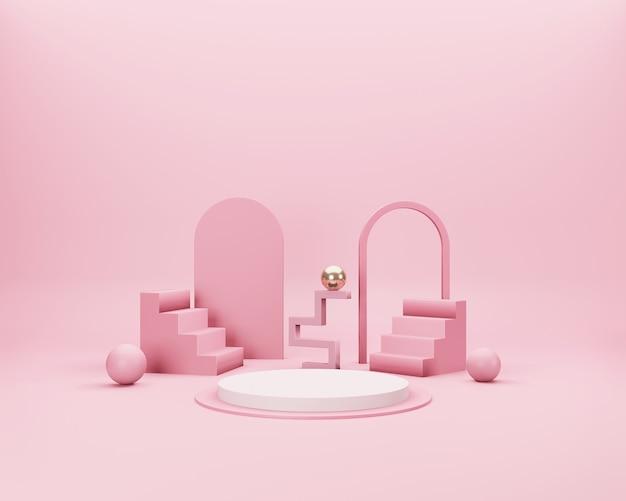 Escena mínima abstracta en 3d con formas geométricas de color rosa, blanco y dorado sobre fondo rosa