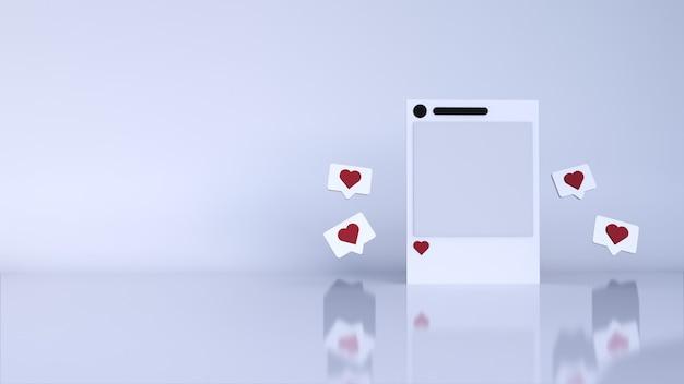 Escena mínima de fondo abstracto con podio y publicación de redes sociales en blanco. render 3d
