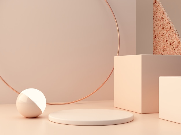 Escena mínima con podio y fondo abstracto. formas geométricas. escena de colores pastel.