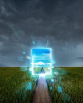 Escena misteriosa con portal