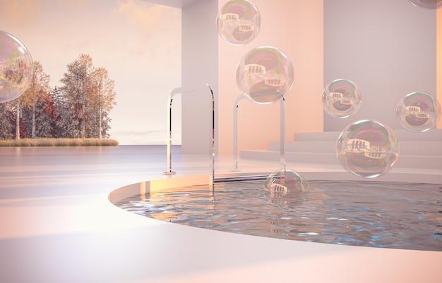 Escena de otoño de lujo con formas geométricas y burbujas.