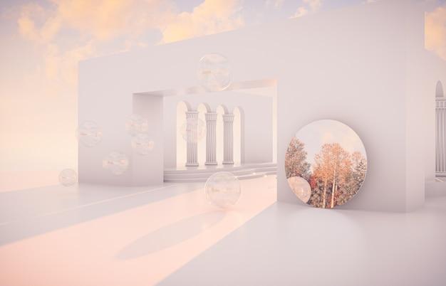 Escena de otoño de lujo con formas geométricas y espejo.