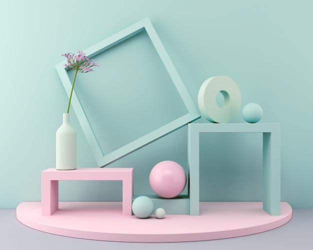 Escena de la pared del color rosado mínimo en colores pastel del podio de la representación 3d, fondo de la forma geométrica.