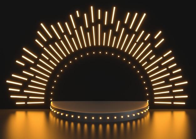 Escena del podio de la etapa para la celebración del premio en el fondo negro, podio de la etapa con la iluminación, render 3d.