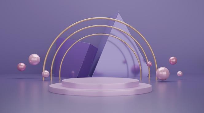 Escena de podio geométrica 3d para exhibición de productos.