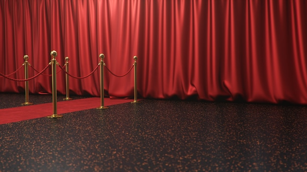 Escena de premios con cortinas rojas cerradas. alfombra de terciopelo rojo entre barreras doradas. escenario de teatro