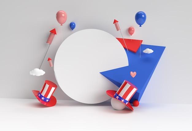 Escena de renderizado 3d de escena de podio mínima para diseño publicitario de productos de visualización. 4 de julio concepto de día de la independencia de estados unidos.