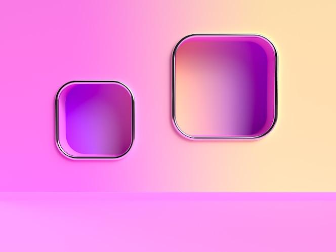Escena de representación 3d abstracta de gradiente de pared amarilla rosa