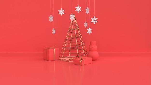 Escena roja de navidad año nuevo vacaciones oro metálico abstracto árbol de navidad derecho caja de regalo bola roja pared piso render 3d