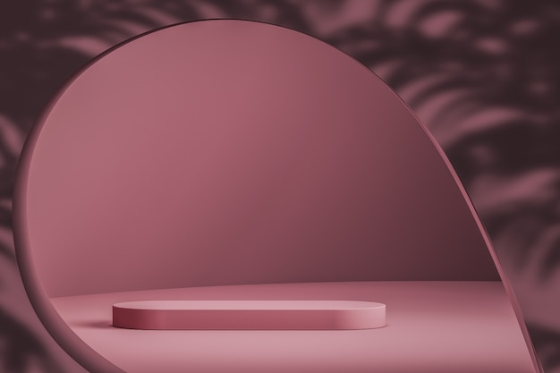 Escena rosa abstracta y podio para presentación de marca y producto.