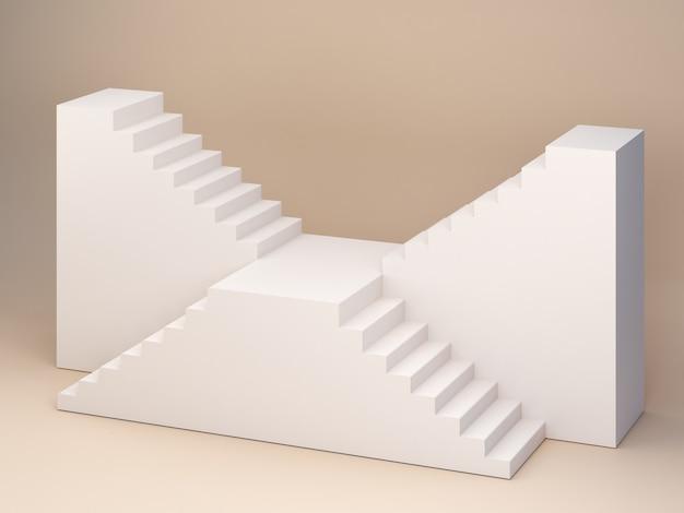 Escena vacía 3d con escaleras y fondo mínimo crema pastel para mostrar un producto