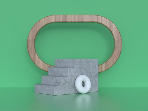 Escena verde pared piso madera marco forma geométrica representación 3d