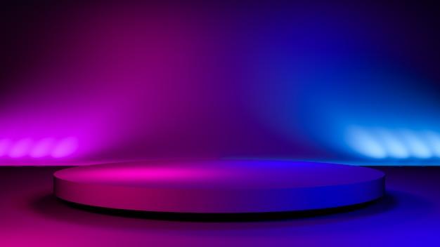 Escenario del círculo, fondo futurista abstracto, concepto ultravioleta, render 3d