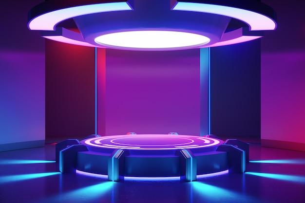 Escenario de círculo con y luz de neón púrpura.