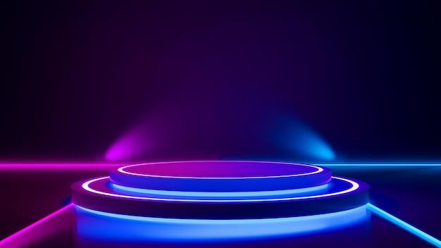 Escenario de círculo y luz de neón púrpura.