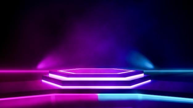 Escenario hexagonal con humo y luz de neón púrpura.