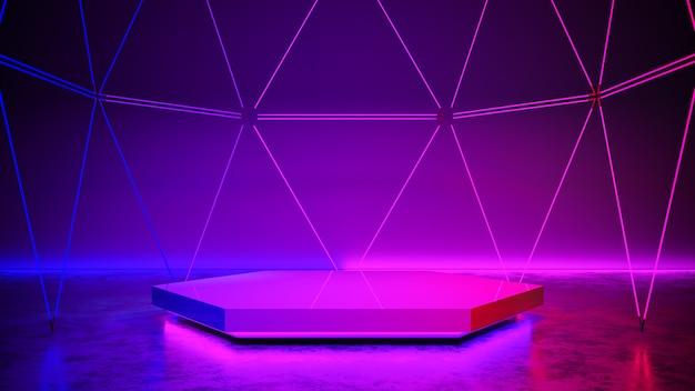 Escenario hexagonal con luz de neón, futurista abstracto, concepto ultravioleta, render 3d