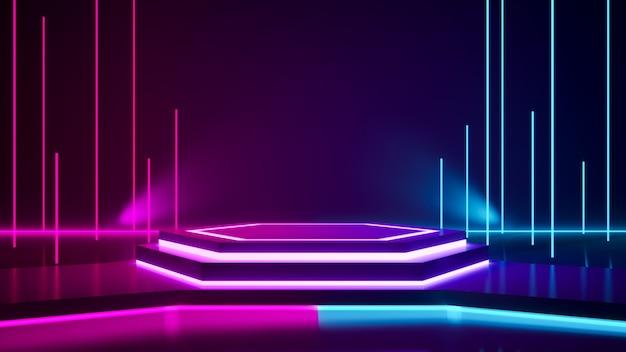 Escenario hexagonal y luz de neón púrpura.