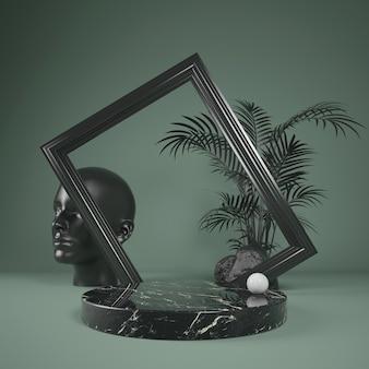 Escenario de mármol negro podio abstracto para mostrar producto con marco negro y hoja de palma, ilustración 3d